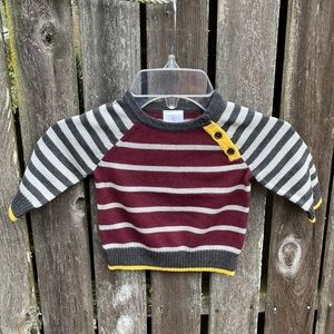 Hanna Andersson 60 Sweater Striped Burgundy Gray